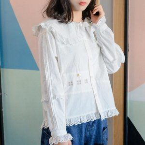 Lace Collar Embroidered Blouse